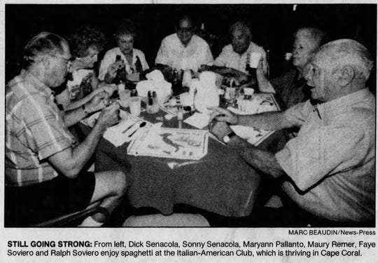 Members of the Italian-American Club in Cape Coral enjoy a spaghetti dinner in this 1996 file photo.