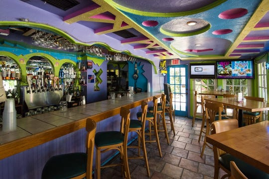 A view of the colorful bar at Keylime Bistro.