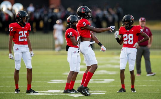 Central-Phenix City wide receiver EJ Williams (5) dances during warmups before the Prattville game at Garrett Harrison Stadium in Phenix City, Ala., on Friday September 13, 2019. Williams has committed to Clemson.