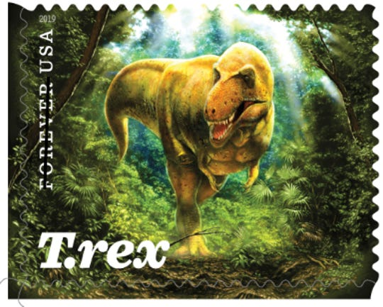 This is one of two stamps that depict the Montana T. rex on  a stamp.