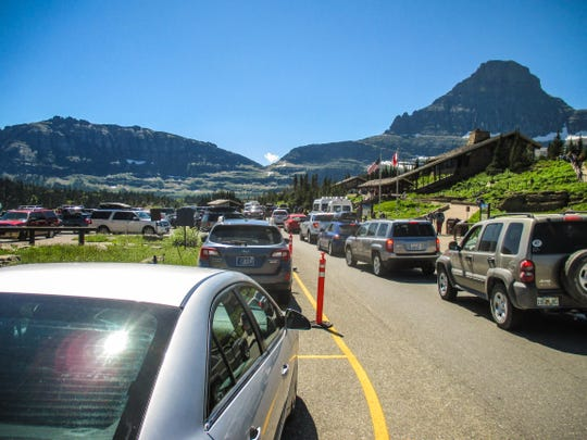 During peak season parking spaces at Logan Pass often fill before 8 a.m.