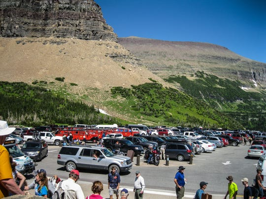 Heavy demand for parking at Logan Pass frequently forces visitors to bypass the stop all together.