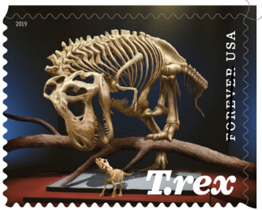 This is one of two stamps recently released depicting a Montana T. rex.