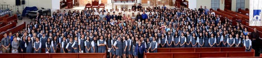 "Academy of Our Lady of Guam celebrated its 70th Anniversary with a Mass on Sep. 24 at the Cathedral Basilica. The main presider, Fr. Tom McGrath, S.J., during his homily spoke of how merciful God is to the Academy and its students, and in turn, these students and alumnae share their mercy, not only on Guam, but also in different parts of the world. In lieu of providing and hosting a celebration feast, the school chose to focus their efforts on the students' spiritual and corporal works of mercy acts in our community. If you are interested in joining as part of Academy's ""circle of mercy"" and sharing your gifts this 70th year, contact the school at 477-8203 or email acad@aolg.edu.gu."