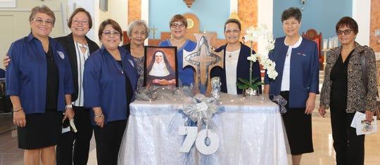 AOLG staff from left: Bernie Flores-Burrier '76, Mary A.T. Meeks '69 (AOLG principal), Jonifer B. Cepeda '79, Becky Rios, Rosalind Borja '69, Sr. Orlean Pereda, RSM '69, Sr. Mary Angela Perez, RSM '64 (AOLG president), and Polly A. Cruz '64.