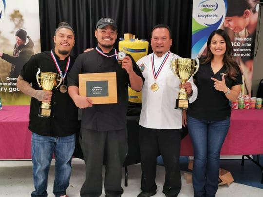 Guam's Salon Culinaire Competition was held Sept. 18-19 at Guam Community College. First place for Jr.  Chef Division on Sept. 18 is Joshua N. Campos, second place in Professional Chef Division on Sept. 19 is Darwin Arreola and first place in Master Chef Division is Master Chef Peter Duenas.  From left: Joshua Campos, Darwin Arreola, Chef Peter Duenas, and Monica Duenas.