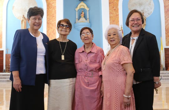 Pictured with AOLG administration are some members of the first graduating class, the Class of 1953. Pictured left to right: Sr. Mary Angela Perez, RSM '64 (AOLG president), Bernadita Perez, Julieta I. Balidio, Priscilla U. Mesa, and Mary A.T. Meeks '69 (AOLG principal.)