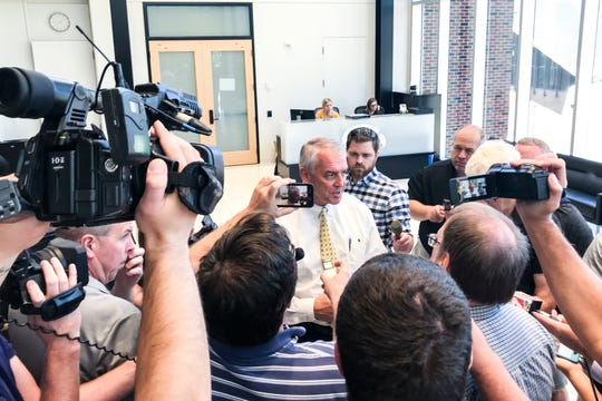 Iowa athletics director Gary Barta talks with reporters, Tuesday, Sept., 24, 2019, at the Hansen Football Performance Center in Iowa City, Iowa.