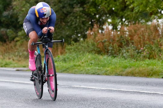 Chloe Dygert, of the United States, competes in the women's elite individual time trial event, at the road cycling World Championships in Harrogate, England, Tuesday.