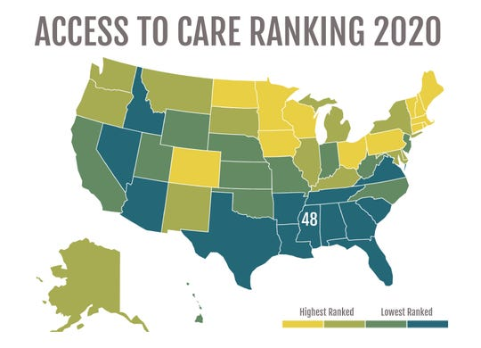 This graphic shows state rankings for access to mental health. Source: Mental Health America, Access to Care Ranking 2020
