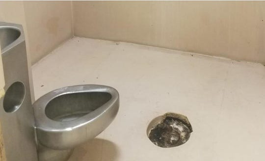 An individual with severe mental illness who was in the Adams County jail  chewed the padding around this drain in the middle of his cell, according to Sheriff Travis Patten.