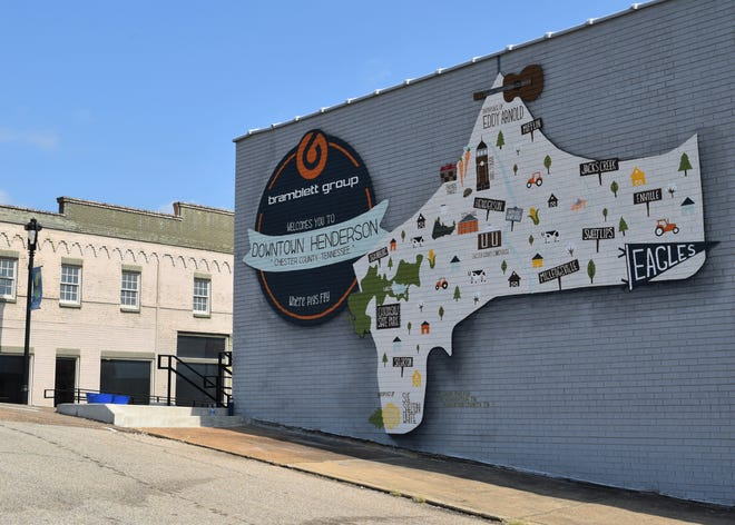 A mural depicting a map of Chester County now welcomes drivers into Downtown Henderson as they travel past the Bramblett Group office on Main Street in Henderson, Tenn. on Sept. 19, 2019.