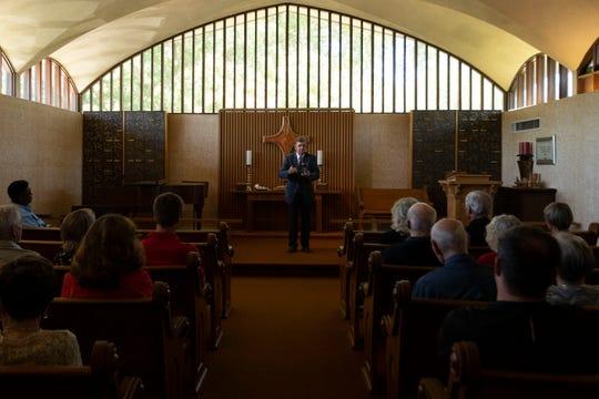 Rev. Jim Bailes leads Concord United Methodist Church's dementia friendly worship on Sunday, September 22, 2019.