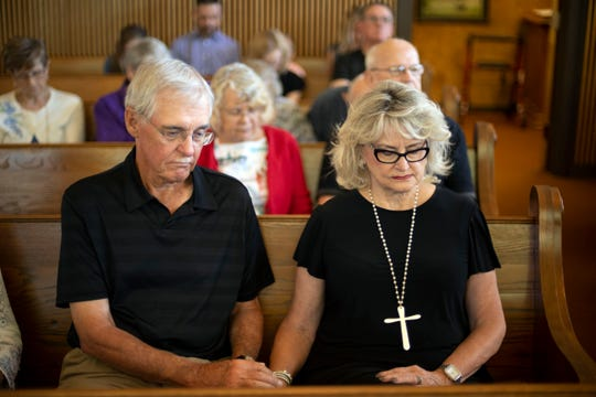 Charlie and Tena Underwood attend Concord United Methodist Church's dementia friendly worship on Sunday, September 22, 2019.