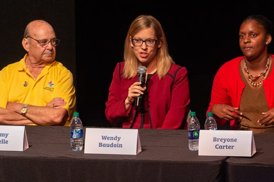 Wendy Baudoin speaking at The Lafayette Parish School Board Candidate Forum at ACA. Monday, Sept. 23, 2019.