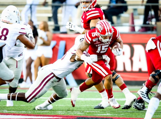 ULL RB Elijah Mitchell gains yardage in the football game between ULL and Texas Southern at Cajun Field in Lafayette, Louisiana on September 14, 2019.
