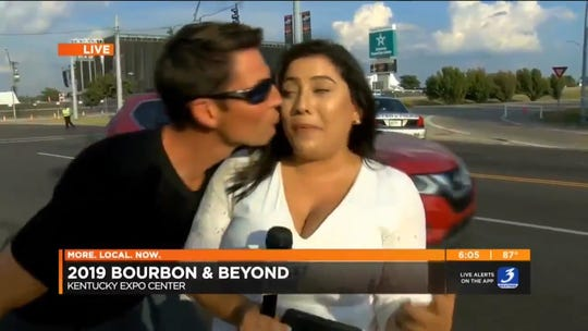 """WAVE 3 News reporter Sara Rivest said she felt """"uncomfortable and powerless"""" when an unidentified man kissed her on camera during a live broadcast Friday, Sept. 20, 2019, outside of the Bourbon & Beyond music festival in Louisville, Kentucky."""