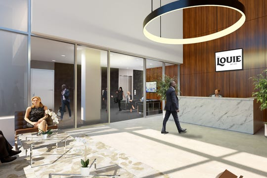 A rendering of the lobby of The Louie, a downtown Lansing office building slated to open to tenants by late 2020 after $20 million in renovations.