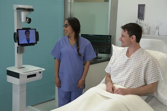 The compact InTouch Vici stroke robot can be moved at a moment's notice and uses an integrated system of live streaming two-way audio and video to share health information instantaneously.