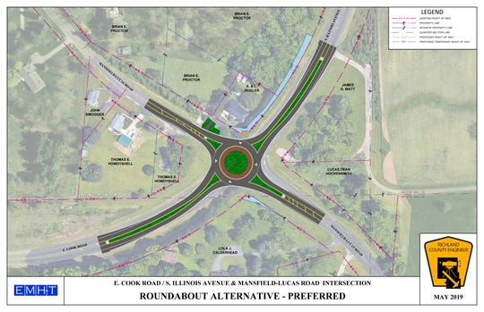 County officials are in the process of securing money to construct a roundabout at the intersection of East Cook Road, South Illinois Avenue, and Mansfield Lucas Road.