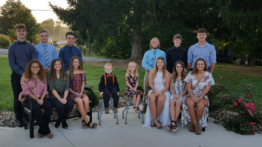 The 2019 Lucas Homecoming Court includes, from left, front, Brooklyn Reed, McKenzie Gerhart, Shelby Grover, Futures Mason Lantz and Cheznie Reece, Morgan Sweat, Kayla Hignite, Morgan Spitler; and back, Nicholas Niswander, William Zirzow, Andrew Fanello, Thomas Zirzow, Carson Hauger, and Logan Niswander.  The 2019 queen will be announced at the Homecoming game on Oct. 11.