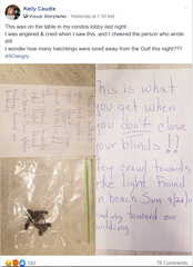 "A resident of the Sunset House condominium reported in a Facebook group on Sept. 23 she found a dead sea turtle hatchling inside of a Ziploc-type plastic bag in the building's lobby accompanied by a note. ""This is what you get when you don't close the blinds,"" the letter read."