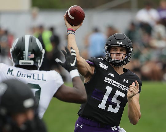 Quarterback Hunter Johnson, a prized transfer from Clemson, has struggled for Northwestern so far this season, completing just 48.5% of his passes with four interceptions and just one touchdown.