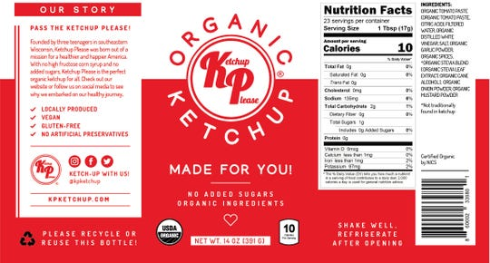 The label for Ketchup Please touts its healthy attributes.