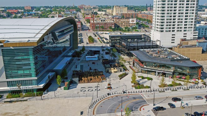 Milwaukee's Deer District includes Fiserv Forum, a public plaza, and an entertainment block with restaurants and bars, as pictured on Sept. 18, 2019.