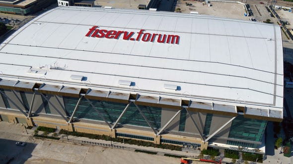Fiserv Forum, home to the Milwaukee Bucks, as viewed from above on Sept. 18, 2019.