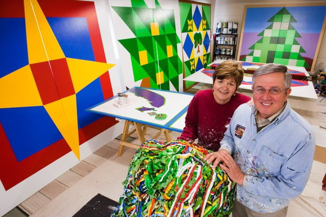 Irene and Jim Leuenberger designed and painted many of the barn quilts in Shawano County.