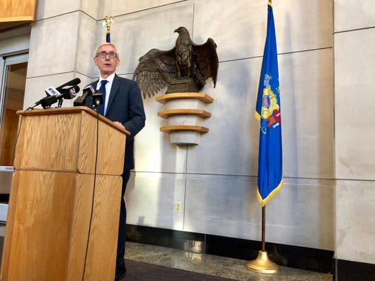 Then Governor-elect Tony Evers speaks to reporters in this Dec. 14, 2018 file photo.