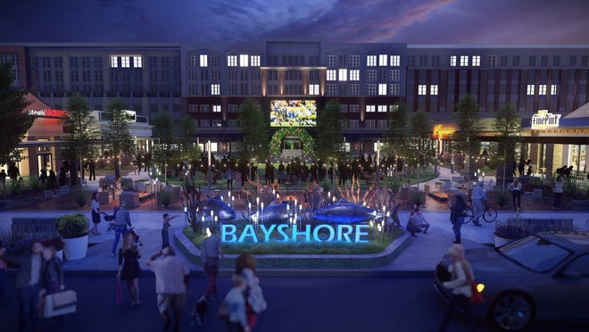 Bayshore's main outdoor plaza will include a large outdoor LED screen for sports events and other broadcasts as well as public art. The development's new owner has dropped the Bayshore Town Center name.