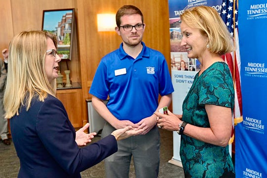 Former Tennessee House Speaker Beth Harwell, right, chats Tuesday, Sept. 24, with MTSU College of Liberal Arts Dean Karen Petersen, left, and Matthew Hibdon, strategic communications manager in the College of Liberal Arts, inside the Student Union Building prior to the university's announcement that Harwell has been named a Distinguished Visiting Professor in political science.