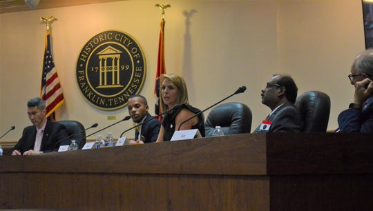 Franklin alderman candidates Howard Garrett, Michelle Sutton, Bhavani Muvvala and Mayor Ken Moore (running unopposed) answer questions at the Franklin candidate forum, with The Tennessean's David Plazas at far left on Monday, Sept. 23, 2019.