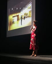 Kristen Coury,  Gulfshore Playhouse's founder and producing artistic director, speaks to a crowd Sep. 24, 2019, at The Norris Center in downtown Naples, during an event announcing the first corporate gift for a new state-of-the-art theater.