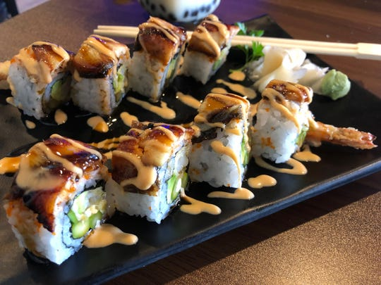 Tako Boba Tea and Sushi Cafe's Unagi dragon roll ($14.95) is a shrimp tempura roll with eel on top, drizzled with eel sauce and spicy mayo.