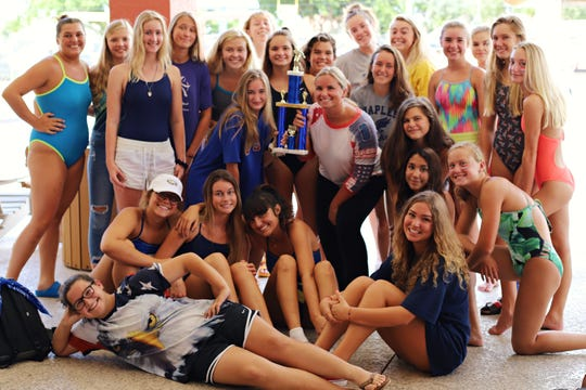 The Naples HIgh girls swim team poses with the second-place trophy for the Shark Relays at a recent practice.