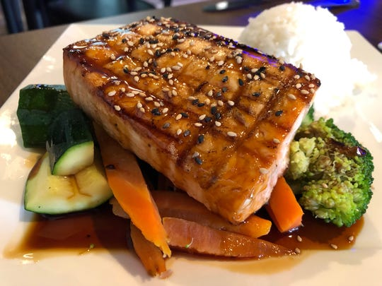 Tako Boba Tea and Sushi Cafe in North Naples offers grilled salmon teriyaki ($15.95) with steamed vegetables and white rice.