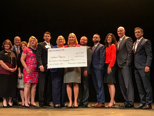 Kristen Coury,  Gulfshore Playhouse's founder and producing artistic director, poses for a picture with supporters on Sep. 24, 2019, at The Norris Center in downtown Naples, during an event announcing the first corporate gift for a new state-of-the-art theater from Bank of America.