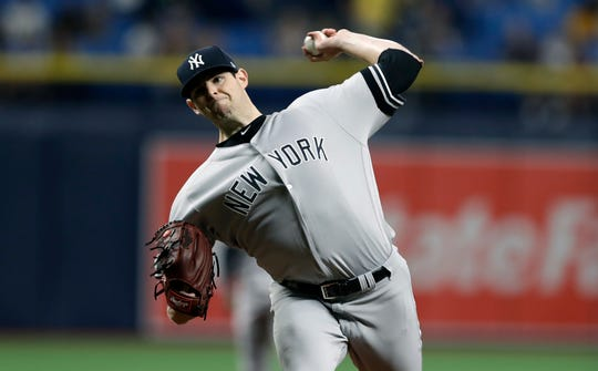 New York Yankees' Jordan Montgomery pitches to the Tampa Bay Rays during the first inning of a baseball game Tuesday, Sept. 24, 2019, in St. Petersburg, Fla. (AP Photo/Chris O'Meara)