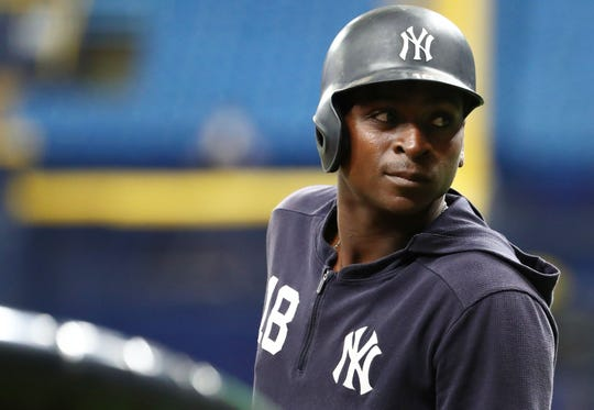Sep 24, 2019; St. Petersburg, FL, USA; New York Yankees shortstop Didi Gregorius (18) works out prior to the game against the Tampa Bay Rays at Tropicana Field. Mandatory Credit: Kim Klement-USA TODAY Sports