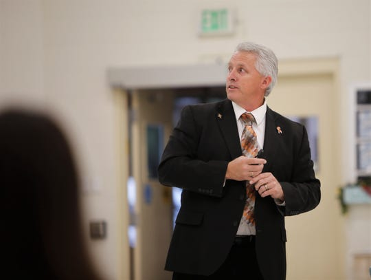Aztec Municipal School District Superintendent Kirk Carpenter talks about the importance of mill funding, Monday, Sept. 23, 2019, during a public forum in Aztec.
