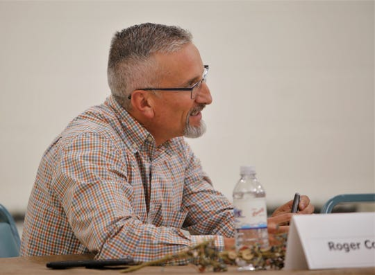 Aztec school board candidate Roger Collins participates in a public forum, Monday, Sept. 23, 2019, at Aztec Senior-Community Center. Collins is the incumbent representing District 5.
