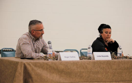 School board candidates Roger Collins and Laci Phillips answer questions, Monday, Sept. 23, 2019, during a public forum in Aztec.