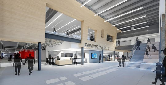 What the main entrance to the new recreation center could look like.