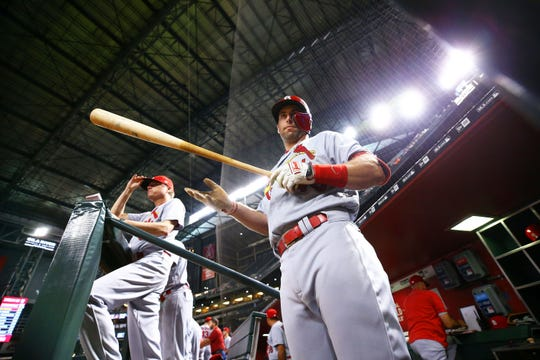 St. Louis Cardinals Paul Goldschmidt prepares to bat against his former Arizona team in the first inning at Chase Field on Sep. 23, 2019 in Phoenix, Ariz.