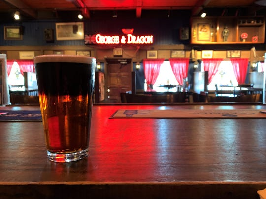 A Dirty Kilt at the George & Dragon. This pint is made with half Kilt Lifter and half Guinness.