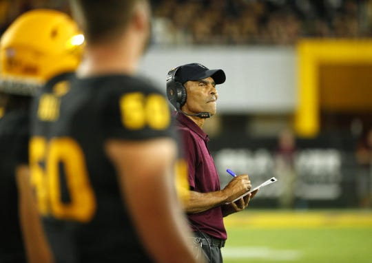 Arizona State University head coach Herm Edwards watches his players from the sidelines during a game against Colorado University at Sun Devil Stadium on September 21, 2019. Can the Sun Devils win at Cal on Friday?