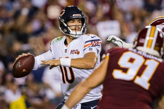 Mitchell Trubisky se lució con tres pases de anotación frente a Redskins.